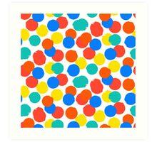 Polka dot print in bright red yellow blue colors Art Print
