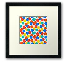 Polka dot print in bright red yellow blue colors Framed Print
