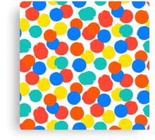 Polka dot print in bright red yellow blue colors Canvas Print