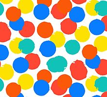 Polka dot print in bright red yellow blue colors by tukkki