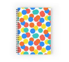 Polka dot print in bright red yellow blue colors Spiral Notebook