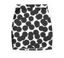 Hand painted polka dot print in black and white colors Mini Skirt