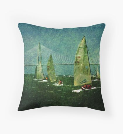 Sailing Regatta in Charleston SC Throw Pillow