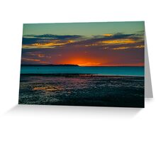 Warm sunset over the beach of Whitstable, Kent Greeting Card