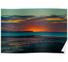 Warm sunset over the beach of Whitstable, Kent Poster