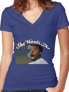 She Wants the  Women's Fitted V-Neck T-Shirt