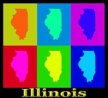 Colorful Illinois State Pop Art Map by KWJphotoart