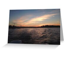 Sunsets over the water Greeting Card