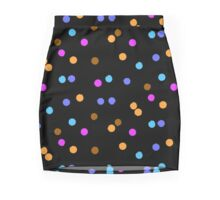 Ditsy colorful polka dot pattern on black Mini Skirt