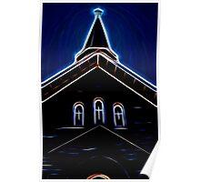 Dark Glowing Church Steeple Poster