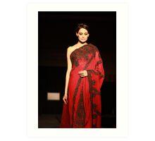 The red Sari Art Print