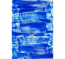 Cool & Calming Cobalt Blue Paint on White  Photographic Print
