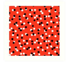 Ditsy colorful polka dot pattern in red, white and black Art Print