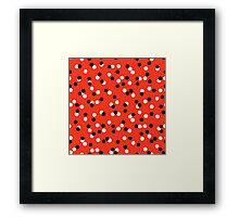 Ditsy colorful polka dot pattern in red, white and black Framed Print