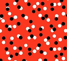 Ditsy colorful polka dot pattern in red, white and black by tukkki