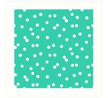 Ditsy classic polka dot pattern in white and aqua green colors Art Print