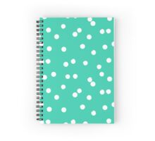 Ditsy classic polka dot pattern in white and aqua green colors Spiral Notebook