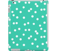 Ditsy classic polka dot pattern in white and aqua green colors iPad Case/Skin