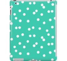 Ditsy classic polka dot pattern in white and aqua green colors iPad Case/Skin