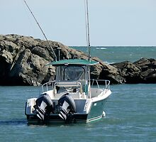 Fishing Boat in Gooseneck Cove - Newport - Rhode Island by Jack McCabe