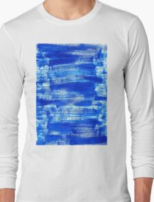 Cool & Calming Cobalt Blue Paint on White  Long Sleeve T-Shirt
