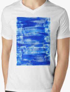 Cool & Calming Cobalt Blue Paint on White  Mens V-Neck T-Shirt