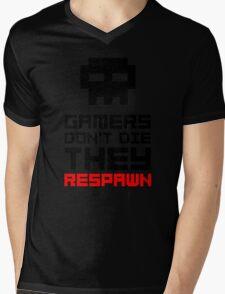 Pixel Skull Gamers Don't Die - Dark Version Mens V-Neck T-Shirt