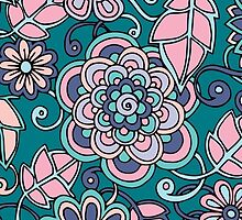 Pink purple green floral  by Bethansmith