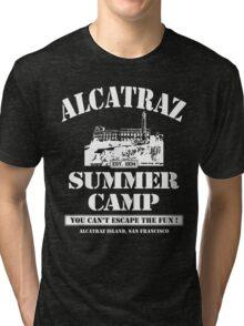 ALCATRAZ SUMMER CAMP wht Tri-blend T-Shirt
