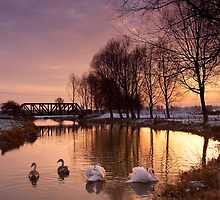 Winter Sunset on the River Waveney by Kathy Wright