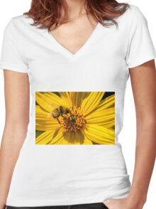 Bee on Yellow Flower Women's Fitted V-Neck T-Shirt