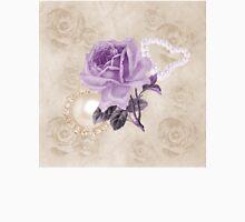 Purple Rose Ivory Roses Rhinestone & Heart Pearls Unisex T-Shirt
