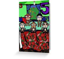 The Superheroes Alphabet- 5 little monkeys Greeting Card