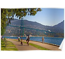 Lions Gate Bridge view from Seawall Path, Stanley Park, Vancouver Poster