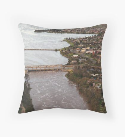 Yarrawonga and Weir - Flood Water Throw Pillow