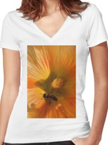 Flower in Close Up Women's Fitted V-Neck T-Shirt