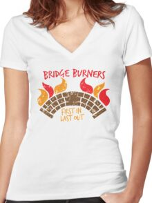 Bridge BURNERS DISTRESSED VERSION first in last out  Women's Fitted V-Neck T-Shirt