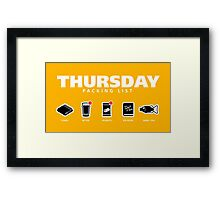 THURSDAY - The Hitchhiker's Guide to the Galaxy Packing List Framed Print