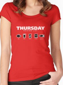 THURSDAY - The Hitchhiker's Guide to the Galaxy Packing List Women's Fitted Scoop T-Shirt