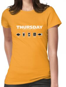 THURSDAY - The Hitchhiker's Guide to the Galaxy Packing List Womens Fitted T-Shirt