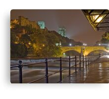 Durham Cathedral and Castle from the RIverside at night Canvas Print