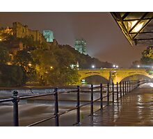 Durham Cathedral and Castle from the RIverside at night Photographic Print