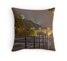 Durham Cathedral and Castle from the RIverside at night Throw Pillow