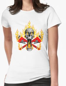 Flaming Plumber Skull Womens Fitted T-Shirt