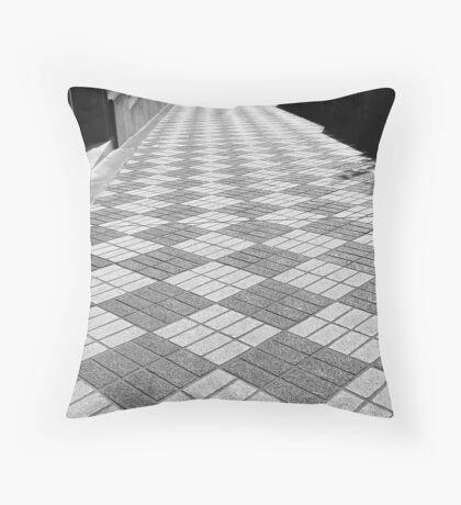 checkered walkway Throw Pillow