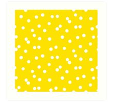 Ditsy classic polka dot pattern in white and yellow colors Art Print
