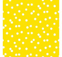 Ditsy classic polka dot pattern in white and yellow colors Photographic Print
