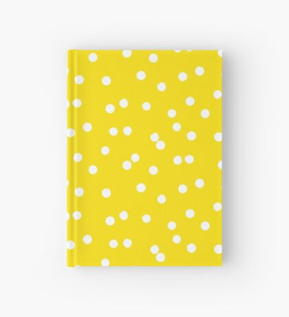 Ditsy classic polka dot pattern in white and yellow colors Hardcover Journal
