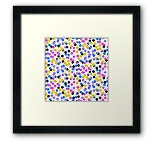 Polka dot print in random blue, black, yellow colors Framed Print