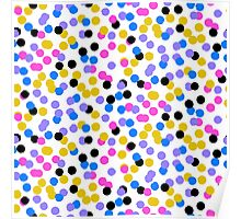 Polka dot print in random blue, black, yellow colors Poster